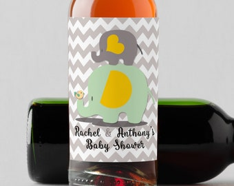 Personalized Custom Mini Wine Bottle Labels  -  Baby Elephant Mini Wine Labels - Gray, Mint and Yellow - Baby Shower Mini Wine Labels