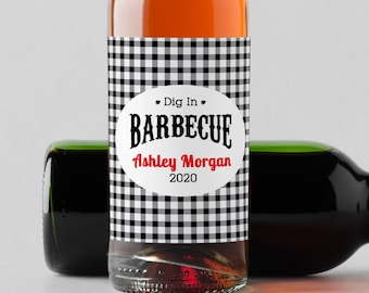 Personalized Dig In Mini Wine Bottle Labels  - Thank You Labels - Miniature Wine Labels - Barbecue Wine Labels   - Set of 10