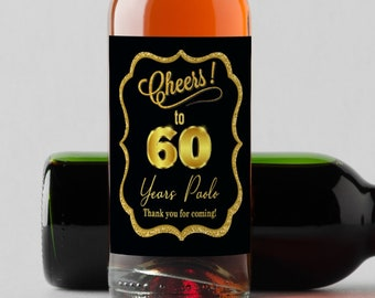 Personalized Cheers to 60 Years Black and Gold Mini Wine Bottle Labels | Perfect for any Age | Set of 10 Labels
