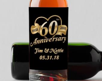 Personalized Custom Mini Wine Bottle Labels  -  60th Anniversary  Mini Wine Labels - Anniversary Mini Champagne Labels - Heart Design