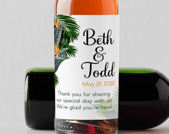 Personalized Tropical Birds of Paradise and Palm Leaves Mini Wine Bottle Thank You Labels -  Set of 10