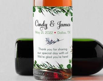 Personalized Botanical Succulents w/ Desert Accents Mini Thank You Favor Wine Bottle Labels for Weddings and Bridal Showers   - Set of 10