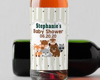 Personalized Custom Mini Bottle Labels  -  Woodlands Baby Shower Mini Wine Labels - Baby Shower Champagne Labels - Baby Shower Bottle
