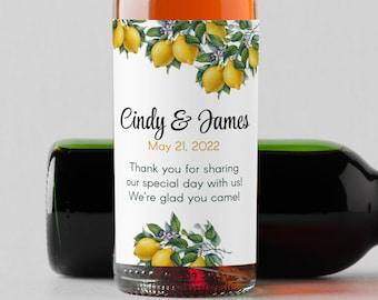 Personalized Botanical Citrus Mini Wine Bottle Labels  - Thank You Labels - Miniature Wine Labels - Bridal Shower - Wedding   - Set of 10