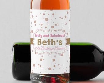 Personalized Custom Mini Wine Bottle Labels  -  Milestone Birthday Mini Wine Labels - Mini Champagne Labels - Birthday Favor Ideas