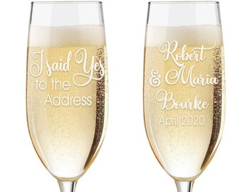 We Said Yes to the Address Champagne Glasses - Custom Engraved House Warming Toasting Flutes - House Warming Gift - Realtor Gift to Clients