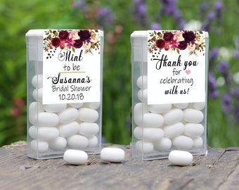 Mint To Be Tic Tac Label, Tic Tac Favors, Wedding, Bridal Shower Favors, Personalized Favor, Tic Tac Wedding Mint Favors, Burgundy Rose