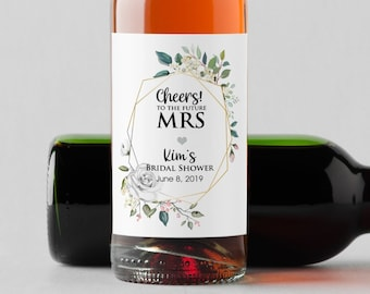 Personalized Greenery White Rose Mini Wine Bottle Labels  - Thank You Labels - Miniature Wine Labels - Cheers to the Future Mrs - Set of 10