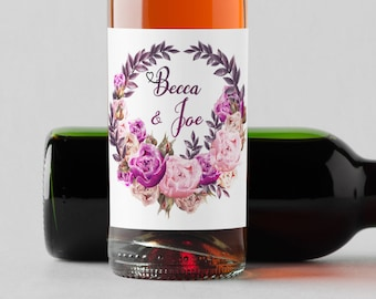 Personalized Custom Mini Wine Bottle Labels  - Fuchsia Light Pink and Purple Floral Wreath- Floral - Wine Labels - Set of 10