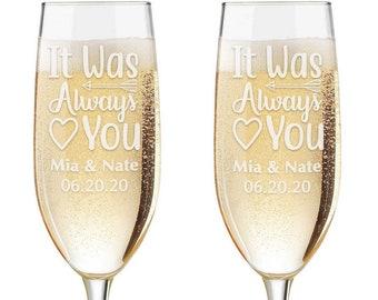 Personalized Wedding Flutes,  2 Toasting Flutes,  Toasting Flutes, Toasting Champagne Flutes, It was Always You Mr and Mrs Toasting Flutes