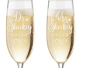 Personalized Wedding Flutes,  2 Toasting Flutes, Engraved Wedding Flute,  Dr and Mrs Toasting Flutes,  Toasting Champagne Flutes