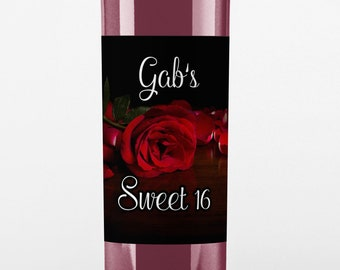 Thank You Wine Labels - Birthday Wine Label - Red Rose Wine Bottle Label - Birthday Thank You Wine Labels - Birthday Decor - Birthday Favors
