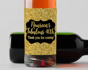 Personalized Custom Mini Wine Bottle Labels  - Fabulous 40th - Faux Gold Glitter - Set of 10