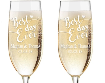 Personalized Wedding Flutes,  2 Toasting Flutes, Engraved Wedding Flute,  Mr. Mrs. Toasting Flutes, Toasting Champagne Flutes, Best Day Ever