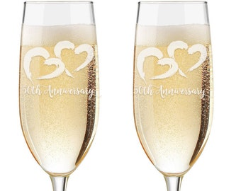 Personalized 50th Anniversary Wedding Flutes,   2 Toasting Flutes, Engraved anniversary Flute,  Double Hearts Flutes, Champagne Flutes