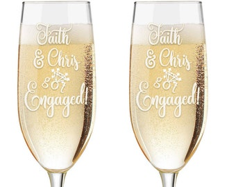 Just Engaged Personalized Champagne Glasses - Custom Engraved Engagement Toasting Flutes - Engagement Gift - Wedding Glasses - Got Engaged
