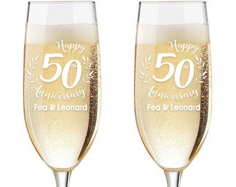 Personalized Wedding Flutes,  2 Toasting Flutes, Engraved Anniversary Flute, 50th Wedding Anniversary Flutes,  Toasting Champagne Flutes