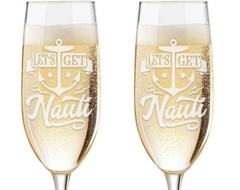 Personalized Wedding Flutes,  2 Toasting Flutes,  Toasting Flutes, Toasting Champagne Flutes, Lets Get Nauti, Nautical Themed Flutes