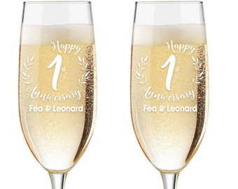 Personalized Wedding Flutes,  2 Toasting Flutes, Engraved Anniversary Flute, 1st Wedding Anniversary Flutes,  Toasting Champagne Flutes