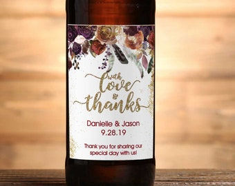 "4"" x 3""  Personalized Beer Bottle  Labels - Roses and Peonies Fall Wedding Favor Labels - Wedding Favors - Thank You Favors - Bottle Label"
