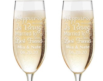 Personalized Wedding Flutes,  2 Toasting Flutes, Engraved Wedding Flute,  Mr. Mrs. Toasting Flutes, Toasting Champagne Flutes, Happiness is