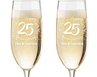 Personalized Wedding Flutes,  2 Toasting Flutes, Engraved Anniversary Flute, 25th Wedding Anniversary Flutes,  Toasting Champagne Flutes