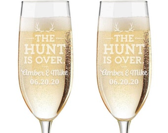 Personalized Wedding Flutes,  2 Toasting Flutes, Engraved Wedding Flute,  Toasting Flutes, Toasting Champagne Flutes, The Hunt is Over