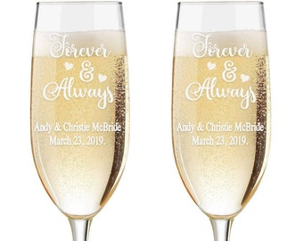 Personalized Always and Forever Wedding Flutes,  2 Toasting Flutes, Engraved Wedding Flute, Toasting Flutes,  Toasting Champagne Flutes NEW