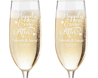 Personalized Wedding Flutes,  2 Toasting Flutes, Engraved Wedding Flute, Happily Ever After Toasting Flutes,  Toasting Champagne Flutes