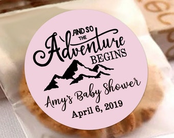 The Adventure Begins Personalized Baby Shower Labels | The Adventure Begins Thank You Stickers | Color Coordinated | Baby Shower Decor