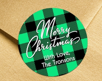 Personalized Buffalo Plaid Christmas Stickers | Plaid Christmas Gift Labels |  Holiday Labels | Christmas Labels | Ships in 2 Days