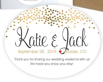 """Wedding Welcome Box Favor Stickers 
