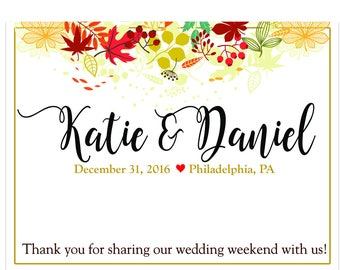 """4"""" x 3""""  Personalized Welcome Box Labels -  30 Wedding Welcome Bag Labels - Favor Labels - Welcome Stickers - Box Stickers - Fall Leaves"""
