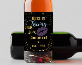 Personalized Custom Mini Wine Bottle Labels  -  Shes's Kissing her 20's Goodbye - 30's Goodbye - Confetti with Lips