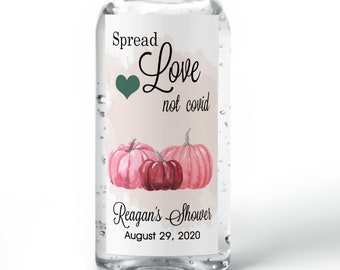 Fall Themed Pink Pumpkin Hand Sanitizer Labels | Rectangular Labels | Baby Shower| Bridal Shower | Wedding Shower