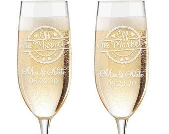 Personalized Wedding Flutes,  2 Toasting Flutes, Engraved Wedding Flute,  Toasting Flutes, Toasting Champagne Flutes, Off the Market