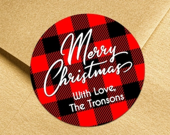 Personalized Buffalo Plaid Christmas Stickers   Plaid Christmas Gift Labels    Holiday Labels   Christmas Labels   Ships in 2 Days