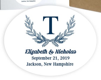 "Wedding Welcome Box Favor Stickers | Gift Bag Label | Gift Basket | 4.25"" x 3.25"" Oval 