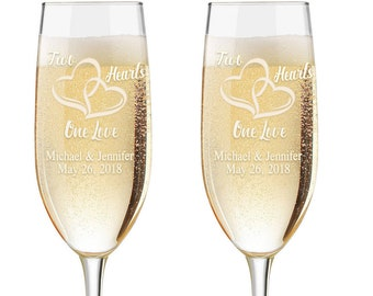 Personalized Wedding Flutes,  2 Toasting Flutes, Engraved Wedding Flute, Double Hearts,  Toasting Champagne Flutes