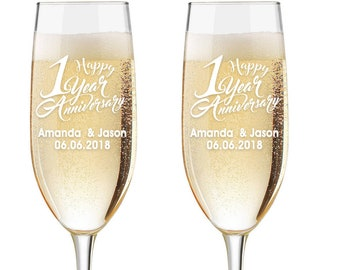 Personalized Wedding Flutes,  2 Toasting Flutes, Engraved Anniversary Flute, 1st Year Wedding Anniversary Flutes,  Toasting Champagne Flutes