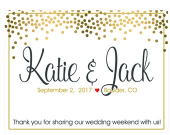 "4"" x 3""  Personalized Welcome Box Labels -  30 Wedding Welcome Bag Labels - Favor Labels - Welcome Stickers - Box Stickers - Gold Dots"