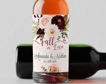 Personalized Burgundy Rose and Dahlia Mini Wine Bottle Labels  - Thank You Labels - Fall in Love   - Set of 10