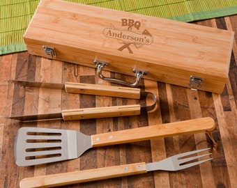 Personalized Engraved Custom Grilling BBQ Set with Bamboo Case | BBQ Gift | Gift for Him | Groomsman Gift | Gift for Dad | Christmas Gift