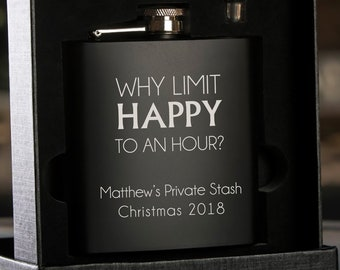 Personalized Black Hip Flask with Funnel - In Gift Box -  Why limit coffee to ... Flask -Stocking Stuffer - Holiday Gift - Christmas Gift