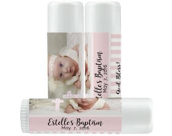 Lip Balm Labels - Personalized Lip Balm Labels - Photo Baptism Labels... labels - 1 Sheet of 12 Lip Balm Labels - Custom Lip Balm Labels