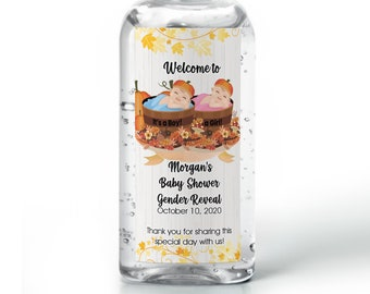 Hand sanitizer labels  - Gender Reveal Baby Shower Labels - Pumpkin Baby Shower - Baby Shower Decor - Sanitizer Labels - 25 Different Sizes