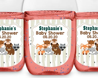 Hand Sanitizer Labels - Fits Bath & Body Works 1 oz Sized Bottles - Woodlands Baby Shower Labels - Baby Animals Decor - Baby Shower Decor