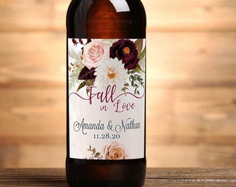 """4"""" x 3""""  Personalized Beer Bottle  Labels - 30 Burgundy Rose and Dahlia Labels - Wedding Favors - Thank You Favors - Bottle Labels"""