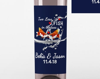 Two Less Fish in the Sea Wine Labels - Kissing Fish Wine Labels  - Nautical Wedding Wine Bottle Labels - Custom Labels - Color Coordinated