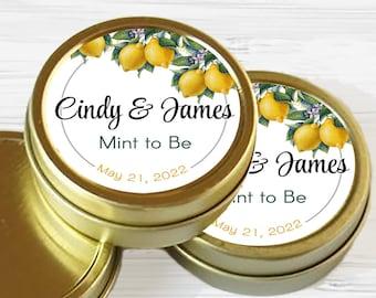 Personalized Gold Vintage Botanical Citrus Lemon Wedding Favor Tins - Gold Mint Tin Favors - Gold Tin Mints - Mint to Be Favors